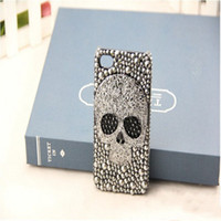 Wholesale 2013 Halloween Hand Made Delicate PC Back Cover Case with Crystal Diamond Skull Cases for iphone C iPhone c cases