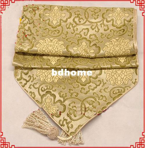 Good quality chinese 100 silk damask extra long 120 inch for 120 inches table runner