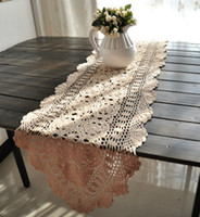Wholesale 40x180cm X71 Inches Vintage hand crocheted shabby chic table runner Beige color
