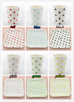Wholesale 60 Sets Promotion Dinnerware OZ Polka Dot Paper cups and Inch Square Polka Dot Paper Plates for Party Supplies