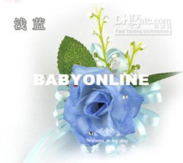 Wholesale MIC Light Blue Silk Roses With Leaves Ribbon Bridesmaid Wrist Corsage Handtied Wedding Flowers