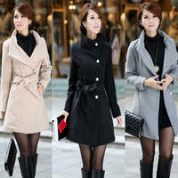 Women Wool Blend Elegant Style Free shipping high qualityWholesale behalf winter long section of new women OL commuter Slim thin coat thick coat 1005