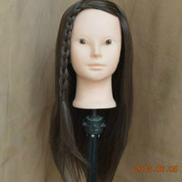 Wholesale 18 quot Female Mannequin Manikin Training Head with Wig Hair No Make up Face with Clamp Holder
