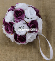 Wholesale MIC quot Dark Purple White Two Colors Silk Rose Kissing Ball Pomander Flowers Crystal Pew Bows Ball Wedding Party Supplies Wedding