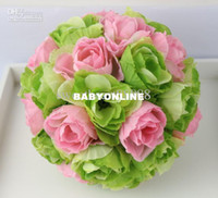 Wholesale MIC quot Green Pink Two Colors Kissing Ball Pomander Flowers Crystal Pew Bows Ball Wedding Bouquet