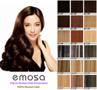 Wholesale Emosa Clip in Hair Extensions Real Human Hair Silky Soft Brazilian Hair Remy Hair Colors Available by DHL EMS