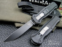 Wholesale Bench made MCHENRY BK Infidel Double Action OTF Tactical outdoor gear pocket camping knives with Black Nylon sheath
