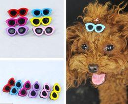 Free shipping pet dog puppy hair pin bow accessoris sunglasses styles mixed colors 30pcs lot