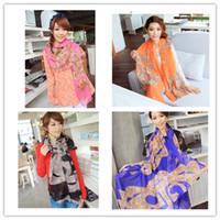 Wholesale New Arrival Women Scarves Chiffon Special Leopard Pattern Big Wrap Shawls Pashmina Lady Scarf Fashion Lady Accessories Mix Color WJ036