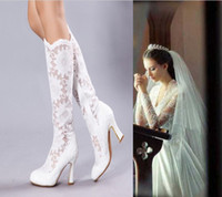 High Heel Pig Leather Boot 2014 New Fashion 7.5cm High Heels White Sheer Lace Beauty Prom Evening Party Dress Women Lady Bridal Wedding Boots Shoes R29
