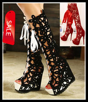 Wholesale 2013 Sexy High Heel Hollow Out Red Black Knee High Boots Women over the knee boots open toe boots