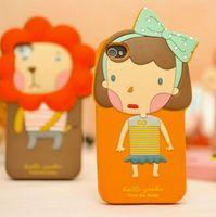 Wholesale Korea romane Romania phone sets iphone5 iphone4S Cartoon Silicone Case Cover Shell