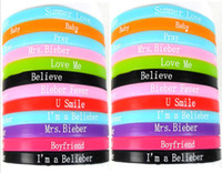 Silicone bieber baby - New Justin Biber Silicone Bracelets mm Charm Wristbands Jewelry summer love mrs bieber believe baby music style