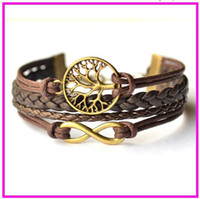 Wholesale High Quality Brown Infinity and tree of life bracelet Faith bracelet handmade bracelet wax cord bracelet