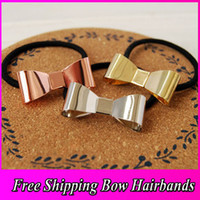 Wholesale 3 Mix Color New Comming Women Hair Accessory Metal Bow Knot Black Rubber Band Ponytail Holder Hair Band
