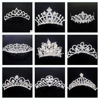 Wholesale Mixed style Fashion Silver Bridal Crown Rhinestone Wedding Jewelry Crystal Pearl Hair Comb Plug Hair Upscale Hair Accessories