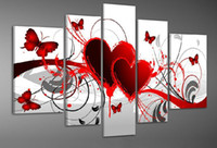 More Panel Oil Painting Fashion 5 Panel Wall Art Shape Of My Heart Abstract Oil Painting On Canvas No Framed Room Panels For Home Modern