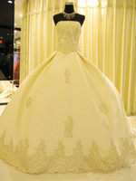 Wholesale New Exquisite Satin Bead Embroidery White and White Ivory wipes bosom Back Lace Up A line cathedral train Winter Wedding Dresses