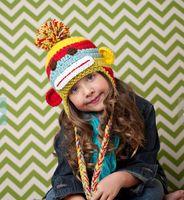 sock monkey - Crochet Striped Sock Monkey Hat in Newborn monster Handmade hat Baby Cute Crochet hats Knitted children animal Hat