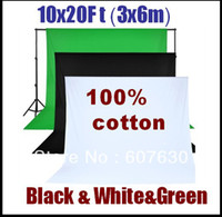 Wholesale x6m x20 Ft Black White Green Cotton Muslin Backdrops Photo Studio Background