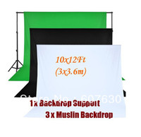 Wholesale 10 Telescopic Backdrop Stand Kit Muslin Chromakey Screen Black White green Background x3 mm