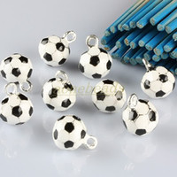 Wholesale 80pcs Enamel Black White Football Soccer Pendant Charms Jewelry Finding