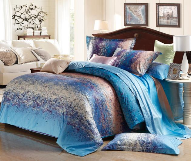 Blue Grey Stripe Satin Comforter Bedding Set King Size