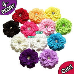 Baby Barrettes Hairpin Girl Peony Flower Hair Clips Hair Accessories DIY Photography props Hair Clip Barrettes With Acryl diamond 20pcs