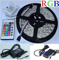 Wholesale New RGB Led Strip Waterproof M SMD LEDs Roll keys IR Remote V A Power Adapter