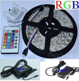 New!!! RGB Led Strip Waterproof 5M SMD 5050 300 LEDs Roll +24 keys IR Remote+12V 5A Power Adapter Free Shipping