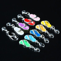 Silver Metals  100PCS Mixed Mini Slippers Flip Flop Lobster Clasps Charms Fit Bracelet Chain