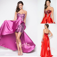 Wholesale Fashionable Sheath Sweetheart Shining Sequins Crystal Elastic Satin Short Front Long Back Party Dresses AE1024