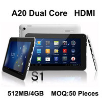 Acheter Android tactile pc-Vente en gros - Freeshipping 7 '' 7 pouces 7 pouces Dual Core Tablet PC Android 4.2 Allwinner A20 Capacitif multi-touch caméra HDMI WIFI 512MB / 4GB
