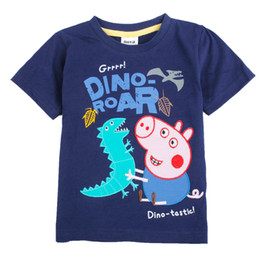 Wholesale C4032 Nova Kids summer wear m y boys t shirt blue cartoon clothing George Peppa Pig amp Dinosaur embroidered cotton short sleeve baby tops