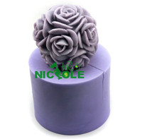 candle mold  ball candle molds - LZ0105 new D silicone candle mold moulds rose flower ball candle crafts molds home decoration mould