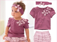 Girl Winter 100% Cotton Wholesale - New Arriving AMISSA (pink butterfly beadband+top+lace pants )3pcs Baby Clothing Set Baby Clothes