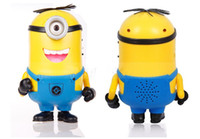 Wholesale New Cute DESPICABLE ME Carton Portable Mini Speaker Micro SD TF Card USB Speakers FM Radio MP3 MP4 Player Amplifier table PC Louderspeaker
