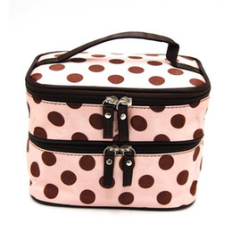 Wholesale DEDC Double Layer Cosmetic Bag Pink with Coffee Dot Travel Toiletry Cosmetic Makeup Bag Organizer With Mirror