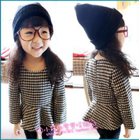Wholesale Houndstooth Girl s Long Sleeved Plaid Princess Dress Zipper Back T9264