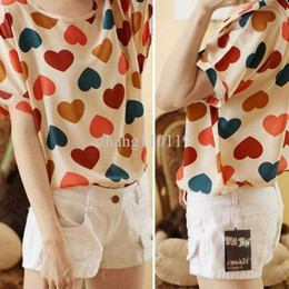 Wholesale shirt Korean Women Chiffon Batwing Short Sleeve Heart Printed Top amp
