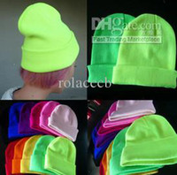 Wholesale NEW ARRIVE Fashion Solid Colors Unisex Knitting Hats Caps beanie GD Fluorescent color Thickened Hats skull caps