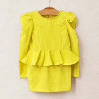 Wholesale Falbala Dresses Kids Clothes Pencil Dress Chiffon Dresses Fashion Princess Dress Girls Cute Dresses Children Clothing Long Sleeved Dress