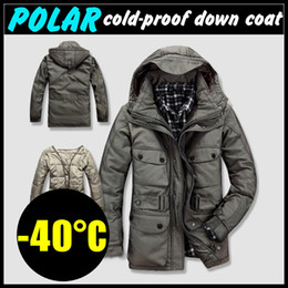 Wholesale C Polar Cold proof Men s Winter Coat Hooded Duck Down Jacket Nylon Outerwear Detachable Thicken Lining NW gt KG Size M XXXL