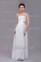 Wholesale Real Image Chinese Designer Sexy Wedding Dress Chiffon Bridal Gown Strapless Zipper Back