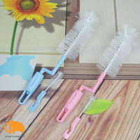 Wholesale baby milk bottle brush scourer free degrees nylon brush stainless steel skeleton pp handle big small set