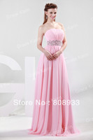 Bridesmaid Dresses CL4423 Off the Shoulder Latest Free Shipping 1pc lot Strapless Chiffon Pink Long Ruched Bridesmaid Dress with Sequins and Beadings CL4423