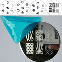 Nail Art Stamping Plate SE-18,SE-20,SE-21,SE-22  4Style NAIL STAMPING PLATE * SALON EXPRESS NAIL ART STAMPING KIT Nail Stamp Plate Round Image Plate Metal Template Set NEW * High Quality !!