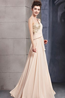 Wholesale Latest one shoulder one cap sleeve embroidery hide zipper floor length evening dresses chiffon ruffle rhinestones prom party dresses pageant