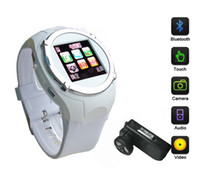 Wholesale High quality quot Display Screen Watch phone With Webcam Bluetooth GPRS MP3 MP4 WAV FM smart phone wrist watch quad band GSM cell phone watch
