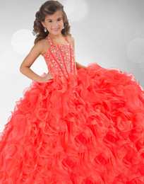 Wholesale 2015 Cute Orange Girls Pageant Dresses Halter Beading Ball Gown Ruffled Backless Lace Up Beautiful Charming Formal Dress Flower Girls Dress